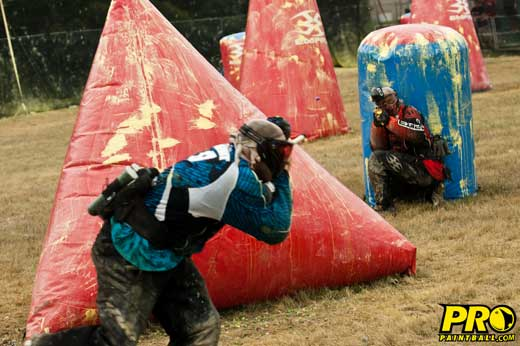 division 1 paintball teams Top Gun and the Hurricanes battling it out