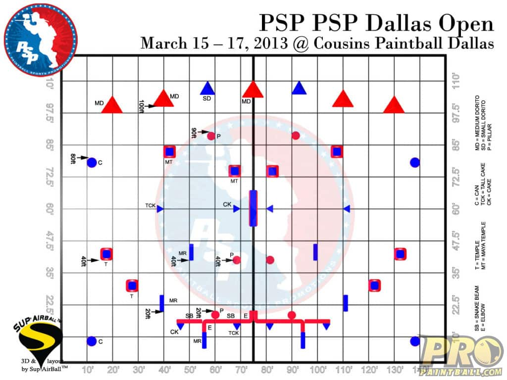 PSP Dallas Paintball Field Layout Grid